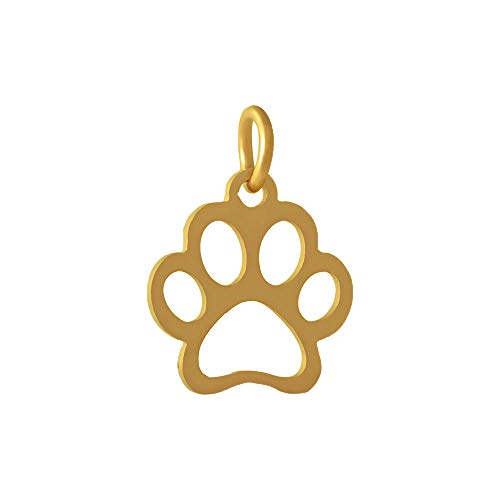 PH PandaHall 10PCS Stainless Steel Charm Pendant Dog Paw Prints Pendants Golden DIY Craft Jewelry Making Supplies