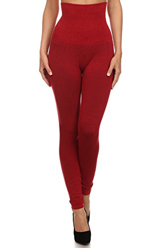 Women's High Waist Compression Top Leggings, French Terry Lining (Red, One Size) SML548SD002RED ()
