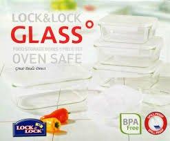 Lock And Lock 5 Piece Glass Rectangular Food Storage Set