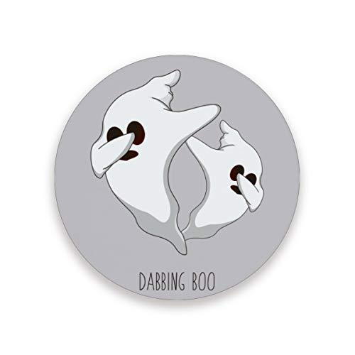 Halloween Ghost Dancing Round Absorbent Ceramic Stone Drinks Coasters Coffee Cup Mat Sets for Home Office Bar Kitchen (Set of (Dancing Ghosts Halloween Decoration)