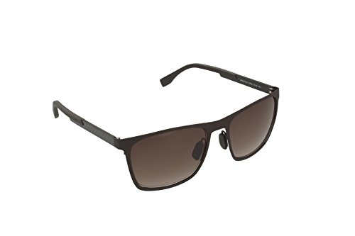 BOSS by Hugo Boss Men's B0732S Rectangular Sunglasses, Dark Brown/Carbon/Brown Gradient, 57 - Hugo Men Boss Glasses