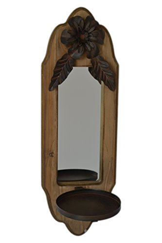 Rustic Wood & Metal & Mirror Wall Mounted Candle Holder Sconce - Chateau Rustic Sconce