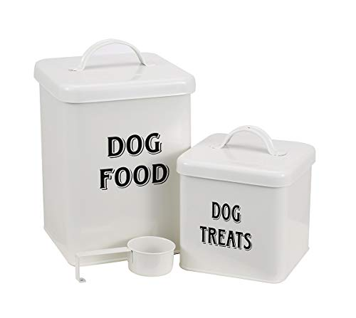 Morezi Pet Food and Treats Containers Set with Scoop for Cats or Dogs - Beige Powder - Coated Carbon Steel - Tight Fitting Lids - Storage Canister Tins - Dog Food