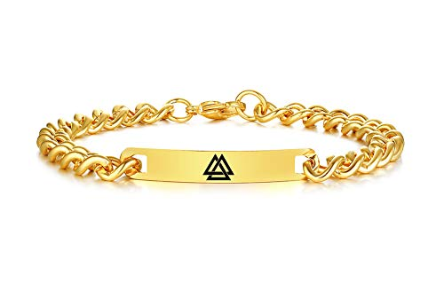 (VNOX Viking Norse Valknut Symbol 7MM 18K Gold Plated Stainless Steel ID Tag Link Bracelet for Men Boy,8.8