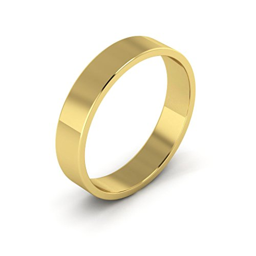 14K Yellow Gold men's and women's plain wedding bands 4mm light flat, 9.5 by i Wedding Band