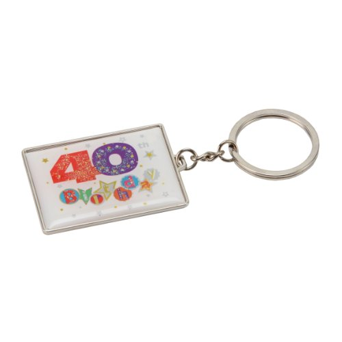 (40th Birthday Keyring Talking Pictures Fanfare Rectangle Present Gift)