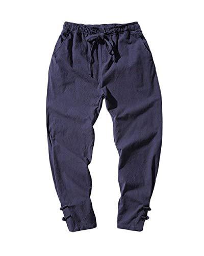 Harem Da Coulisse Stile Larghi Unita Casual Cinese Conici Bottoni Tinta Pantaloni Chic Navy Oversize Hippie Uomo Sccarlettly 1E6xq0Fw