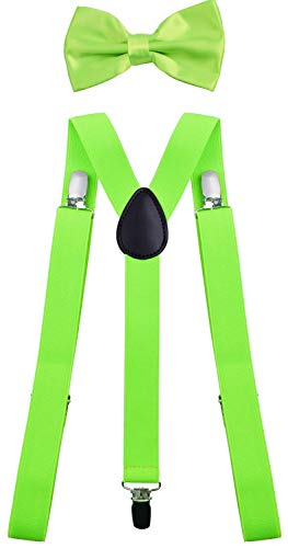 WDSKY Men's Bow Tie and Suspenders Set for Wedding Party Adjustable Green
