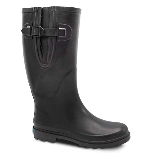 - ZOOGS Extra Wide Calf Rubber Rain Boots Wide Foot and Ankle up to 20 Inch Calf Black