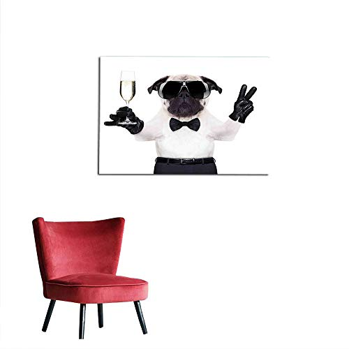 Wall Sticker Decals Pug,Pug with Champagne Glass and Peace Sign Cool Looking Dog Celebration Animal,Black White Cream Poster Print W35.4 x L23.6 -