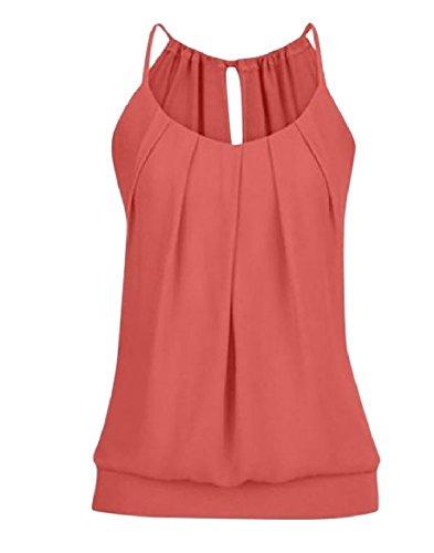 妊娠した襲撃ギャップTootess Women Slim Fit Strappy Solid Color Frill Vest Tank Top Shirt