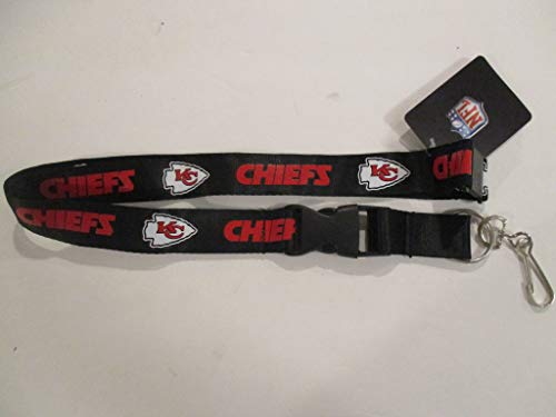Kansas City Chiefs Black and RED Lanyard with Detachable Clip - Kansas City Chiefs Lanyard