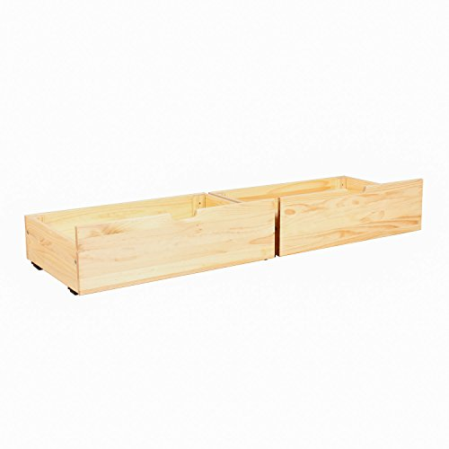 Max & Lily Solid Wood Under Bed Storage Drawers, Natural (Storage Underbed Pine)