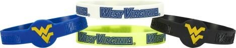NCAA West Virginia CCP-BC-283-82 Silicone Bracelet (4-Pack), One Size, Multicolor by aminco