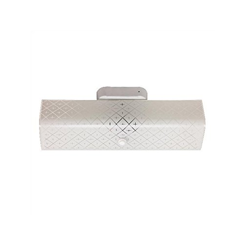 Sunlite B14 14-Inch 2-Bulb Rectangle Bathroom Wall Fixture, White Finish with Ornate White Glass (Light Glass Cover Bathroom)