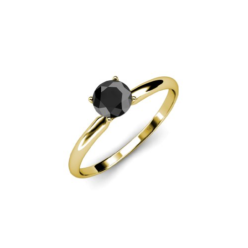 Black Diamond Solitaire Ring 0.50ct in 14K Yellow Gold.size 7.5