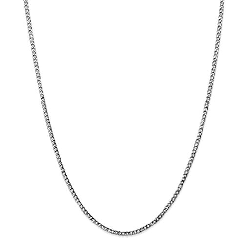 ICE CARATS 14kt White Gold 2.5mm Curb Cuban Link Chain Necklace 24 Inch Pendant Charm Fine Jewelry Ideal Gifts For Women Gift Set From Heart 14kt Gold Curb Link Necklace