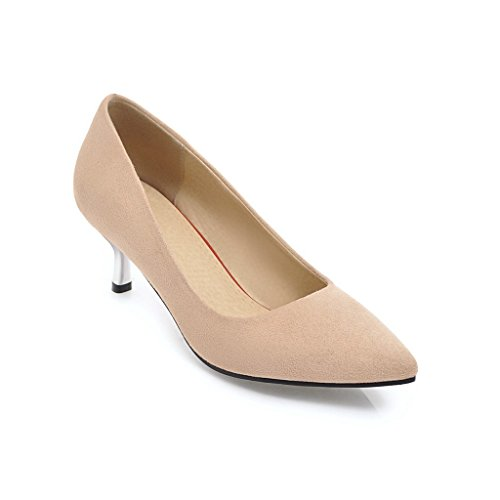 DYF Apricot Women's Large Color Plush Shoes 37 Solid SHOES Metal Sharp Heel FYM Size Color High RfwEOx5BWq