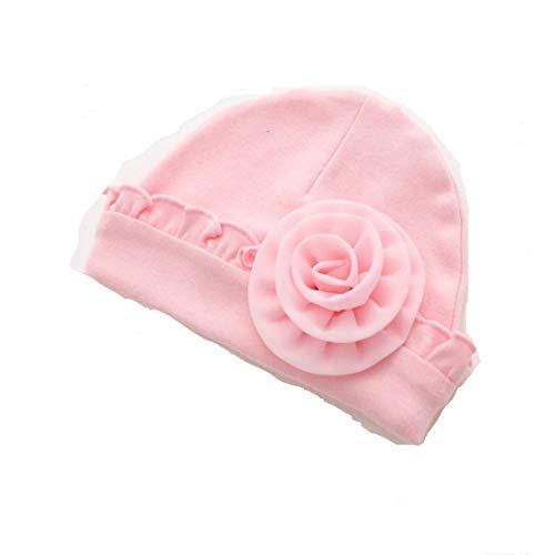 Wenjuan Toddler Baby Cotton Soft Caps Hat Newborn Infant Girls Warm Cute Flower Beanie Winter Slouchy Headwear (Pink) from Wenjuan-Baby Product
