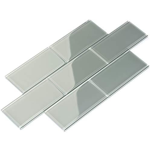 Giorbello Glass Subway Backsplash Tile, 3 x 6, True Gray, Sample Tile (1 Piece)