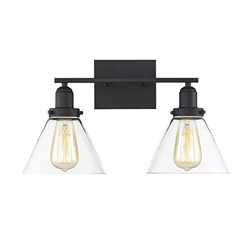 - Savoy House 8-9130-2-BK Drake 2-Light Bathroom Vanity Light in a Black Finish with Clear Glass (18