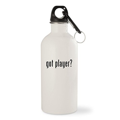 got player? - White 20oz Stainless Steel Water Bottle with Carabiner (Player Sigo Mp3)