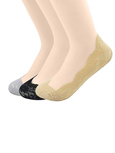 Zando Womens Anti-slip Low Cut Loafer Socks Anti-skidding Lace Hidden No Show Liner Socks F 3 Pairs Grey Black Nude One Size:8.5''-9.5''(Shoe Size:5-8) by Zando