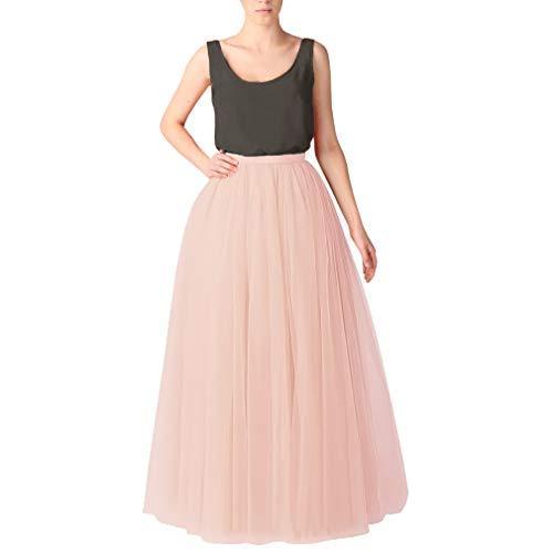 WDPL Bridal Women's Long Tulle Skirts Layered Puffy Full Length Tutu Petticoat Skirt (X-Small, Blush Pink)]()