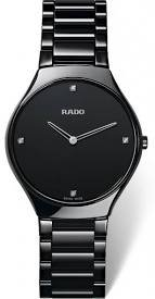 Rado True Thinline Black Dial Black Ceramic Ladies Watch R27742712