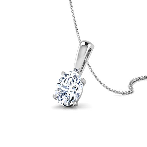 18 K Or Blanc 0,75 ct tw Round-cut-diamond (IJ | SI) Pendentif