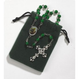St. Jude Rosary with a Case. Material: Glass/zinc Alloy/epoxy Size: 19