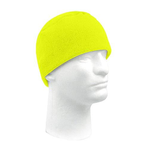 Safety Green Polar Fleece Military Style Cap or Beanie -