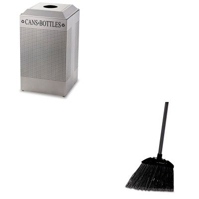 kitrcp637400blarcpdcr24csm – Valueキット – RubbermaidシルエットCan/ボトルリサイクルレセプタクル(rcpdcr24csm) とrubbermaid-black Brute AngledロビーBroom (rcp637400bla)   B00MOOPKNM