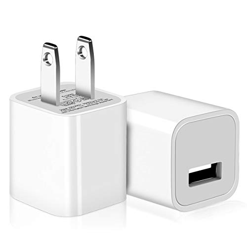 Wall Charger for Apple, PICLOO 2-Pack 1A/5V 1-Port USB Power Adapter Charger Plug Charging Block Cube for iPhone X 8 7 6 6S Plus 5S, iPad, iPod by PICLOO