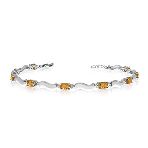 (2.07 Carat (ctw) 14k White Gold Oval Yellow Citrine and Diamond Tennis Bracelet - 7
