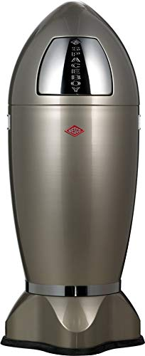 (Wesco Spaceboy - German Made - X-Large Push Door Trash Can, Powder Coated Steel, 9.2 Gallons / 35 L, Silver)