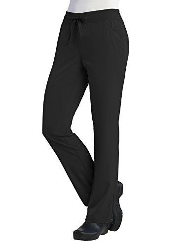 (Maevn Pure Womens Adjustable Flare Yoga Scrub Pant (X-Small, Black))