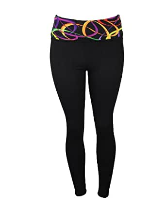 Sexy Double High Waisted Leggings Yoga Pants with Colorful Rainbow Banner Band