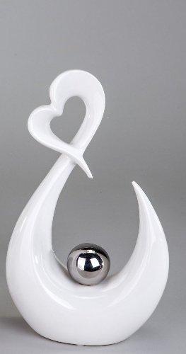 Moderne Herz Skulptur Deko Objekt aus Keramik weiß/silber Höhe 29 cm