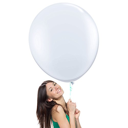 (36 Inch (3 ft) Giant Jumbo Latex Balloons (Premium Helium Quality), Pack of 24, Regular Shape - White, for Photo Shoot/Birthday/Wedding)
