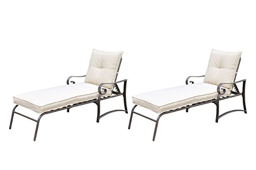 Savannah Steel Frame Outdoor Patio Garden Chaise Lounge Set of 2, Beige by Living Express (Savannah Rattan Garden Furniture)