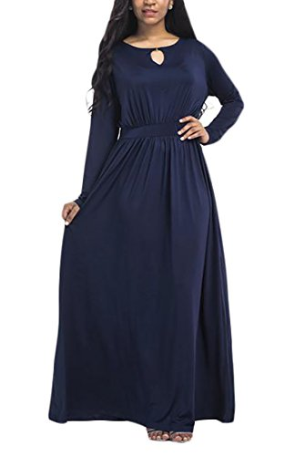 Pleated Long Maxi Blue Large Plus Women's Cut Dress Cruiize Sleeve Dark 2X Crewneck Size Out wgSznq