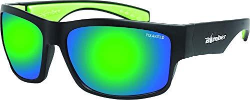 (Bomber Tiger Bomb Polarized Floating Sunglasses Matte Black/Green Mirror Lens (Black, OSFM))