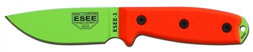 ESEE -3P Blade with Black Sheath & Orange G10 Handle, Venom Green by ESEE