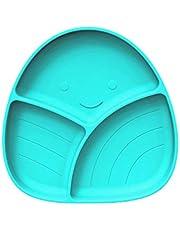 Batchelo Barnservis set baby matbricka silikon sugkopp tallrik fruktskål godistallrik med 3 rutnät anti-tippning middagsbricka för barn Bady 20 x 19 x 3 cm blå