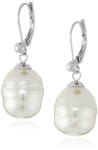Majorica 12mm White Baroque Pearl Drop Sterling Silver Earrings