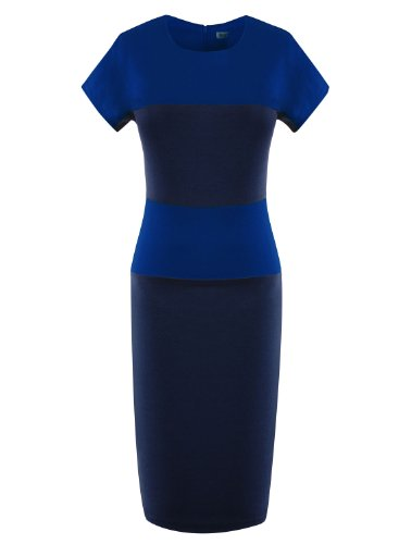 ARTEMISES Women Short Sleeves Striped Patchwork Slim Dress (XL, Blue)