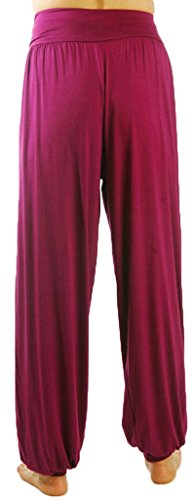 Andyshi de mujer Deporte Danza Harén Pantalones suave Modal Yoga desgaste pantalones Bloomers fucsia