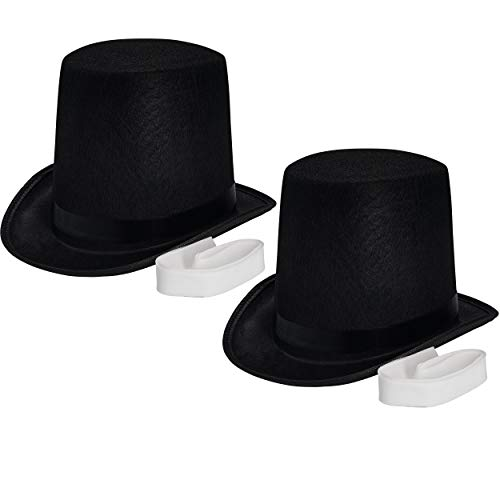 Homemade Witch Costumes For Kids (NJ Novelty - Black Top Hat, Tall Party Hat Costume Dress Up Accessory (Black - 2)