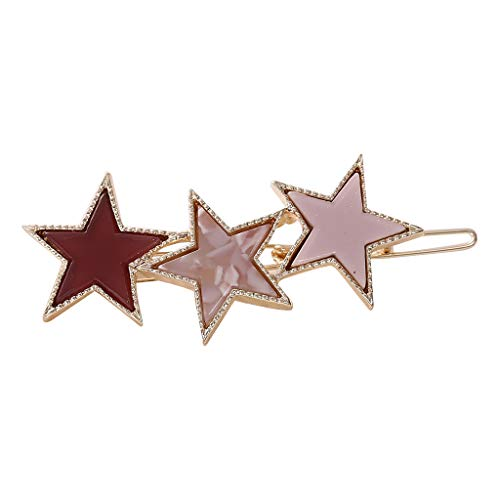 (Lovhop 14 Colors Creative Metal Alloy Frog Bobby Pins Womens Colored Acetate Rhinestone Five-Pointed Star Hair Clip Ponytail Barrettes)
